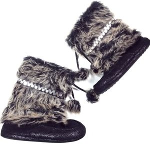 Candies Faux Fur Sequin Pom Pom Boots